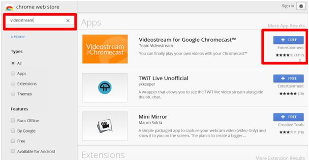 Videostream extension to Chromecast