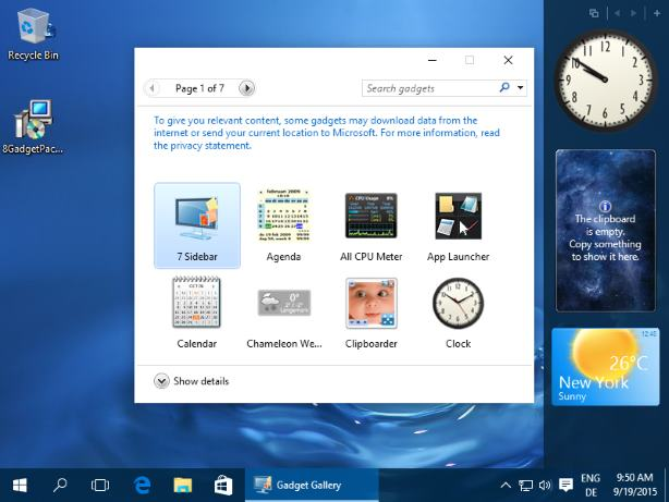 Desktop Gadgets For Windows 10